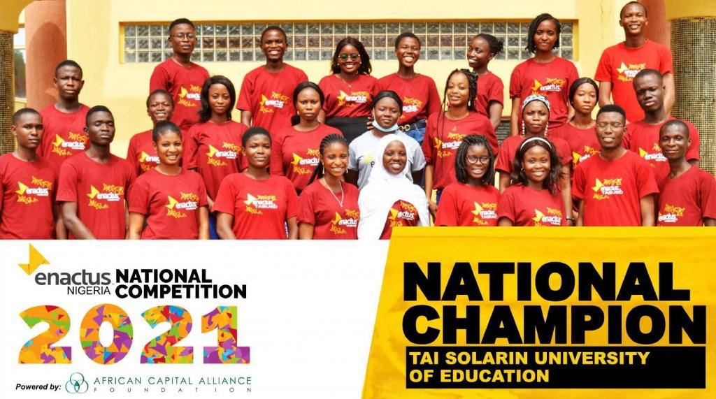 TAI SOLARIN UNIVERSITY OF EDUCATION ENACTUS TEAM EMERGE AS THE NATIONAL CHAMPION OF ENACTUS NIGERIA NATIONAL (ENTREPRENEURSHIP) COMPETITION 2021!